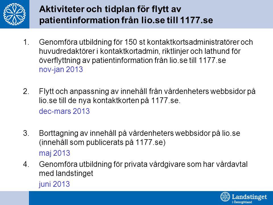 Aktiviteter och tidplan för flytt av patientinformation från lio.se till 1177.se 1.Genomföra utbildning för 150 st kontaktkortsadministratörer och huvudredaktörer i kontaktkortadmin, riktlinjer och lathund för överflyttning av patientinformation från lio.se till 1177.se nov-jan 2013 2.Flytt och anpassning av innehåll från vårdenheters webbsidor på lio.se till de nya kontaktkorten på 1177.se.