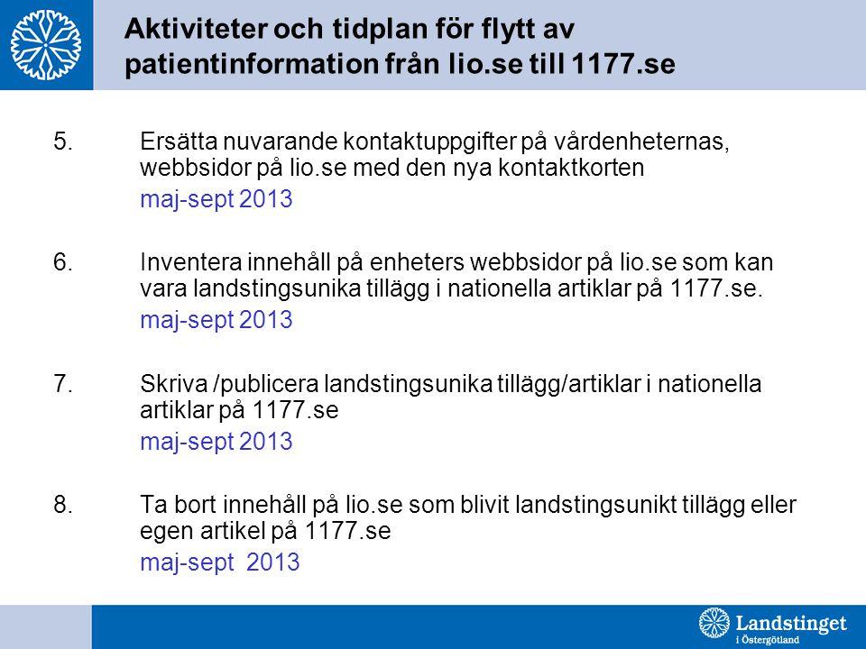 Aktiviteter och tidplan för flytt av patientinformation från lio.se till 1177.se 5.Ersätta nuvarande kontaktuppgifter på vårdenheternas, webbsidor på