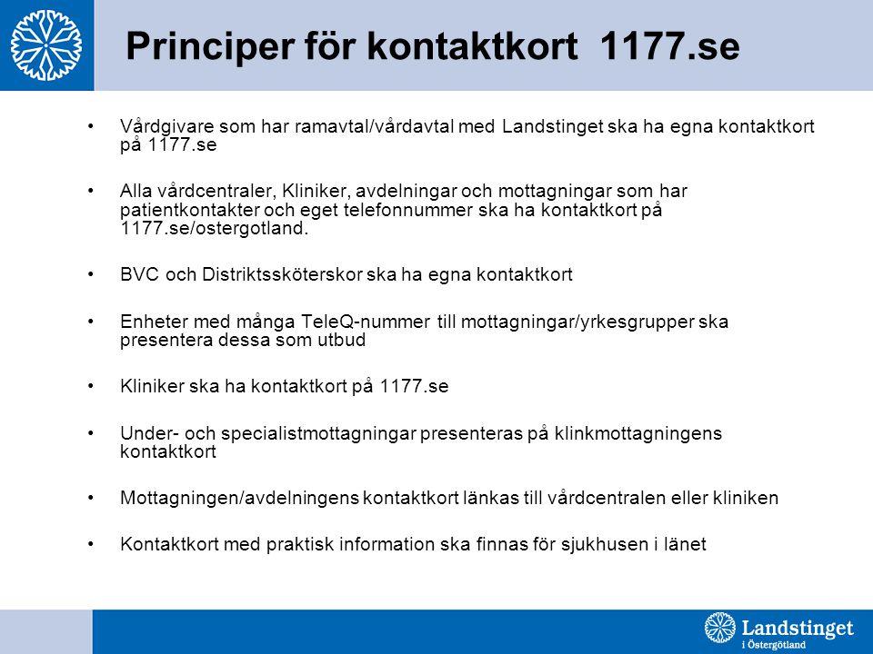 Principer för kontaktkort 1177.se •Vårdgivare som har ramavtal/vårdavtal med Landstinget ska ha egna kontaktkort på 1177.se •Alla vårdcentraler, Kliniker, avdelningar och mottagningar som har patientkontakter och eget telefonnummer ska ha kontaktkort på 1177.se/ostergotland.
