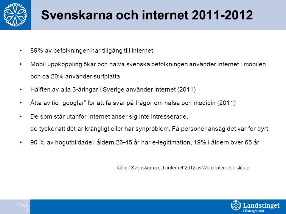 Svenskarna och internet 2011-2012 •89% av befolkningen har tillgång till internet •Mobil uppkoppling ökar och halva svenska befolkningen använder internet i mobilen och ca 20% använder surfplatta •Hälften av alla 3-åringar i Sverige använder internet (2011) •Åtta av tio googlar för att få svar på frågor om hälsa och medicin (2011) •De som står utanför Internet anser sig inte intresserade, de tycker att det är krångligt eller har synproblem.
