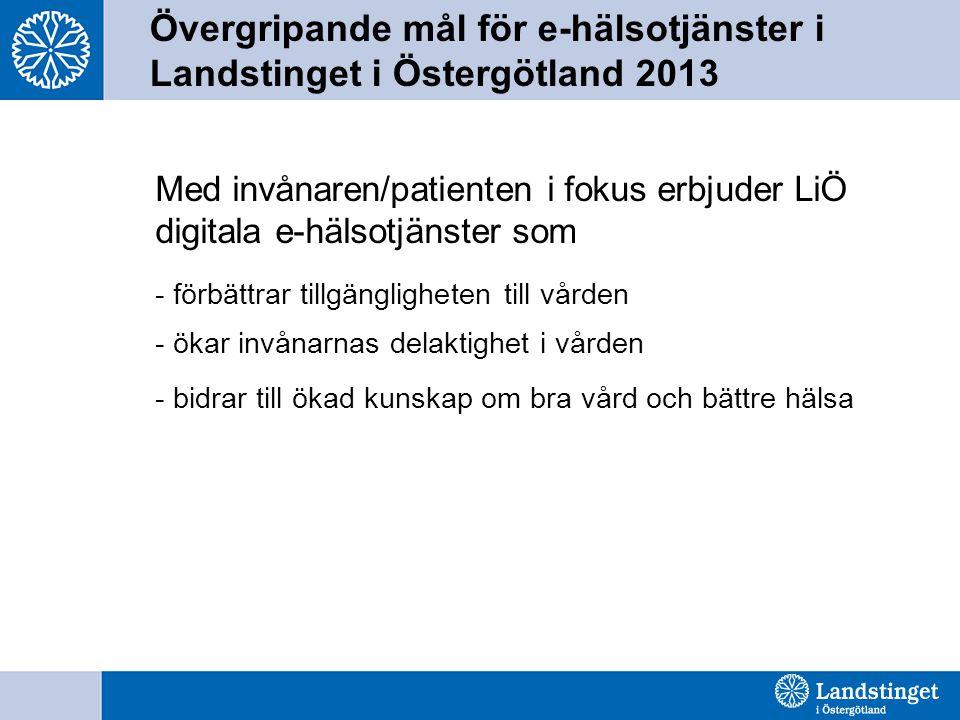 Med invånaren/patienten i fokus erbjuder LiÖ digitala e-hälsotjänster som - förbättrar tillgängligheten till vården - ökar invånarnas delaktighet i vården - bidrar till ökad kunskap om bra vård och bättre hälsa Övergripande mål för e-hälsotjänster i Landstinget i Östergötland 2013