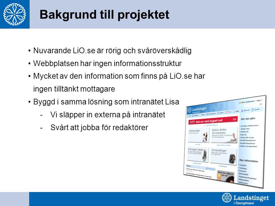 Mål - Nya LiO.se 2.0 •Nya lio.se ska vara lättanvänd och värdeskapande för målgrupperna •Nya LiO.se ska: - Stärka varumärket - Ge en tydlig ingång till landstingens gemensamma webbplats för hälso- och sjukvårdsinformation, e-tjänster, 1177.se - Främja bilden av LiÖ som attraktiv arbetsgivare och stödja rekryteringen - Stärka bilden av LiÖ som en öppen och demokratisk aktör
