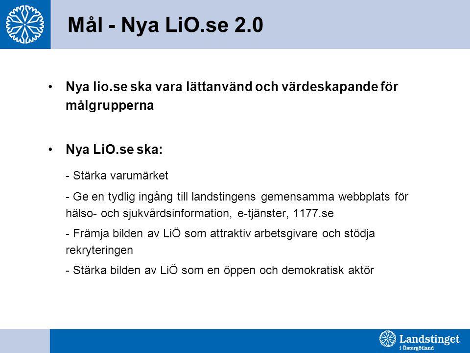 (Primära) målgrupper för Nya LiO.se 2.0 •Patienter & närstående •Vårdgivare (i offentlig och privat regi) •Väljare/medborgare •Framtida medarbetare •Studenter •Media •Forskare