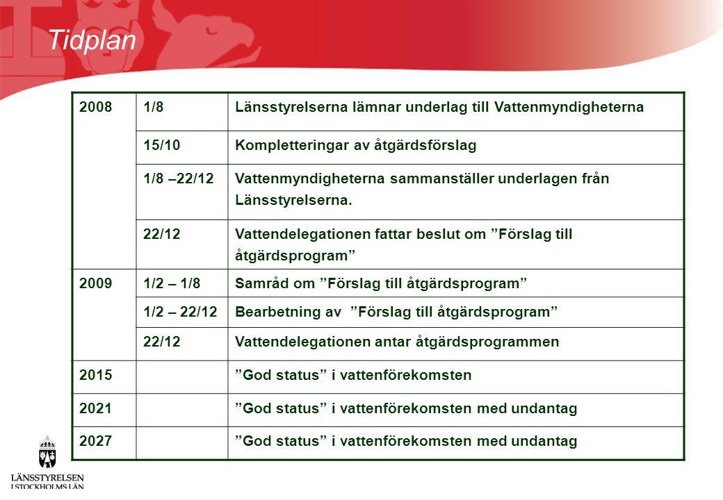 Tidplan 20081/8Länsstyrelserna lämnar underlag till Vattenmyndigheterna 15/10Kompletteringar av åtgärdsförslag 1/8 –22/12 Vattenmyndigheterna sammanst