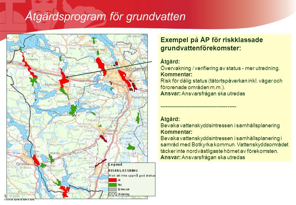 Åtgärdsprogram för grundvatten Exempel på ÅP för riskklassade grundvattenförekomster: Åtgärd: Övervakning / verifiering av status - mer utredning. Kom