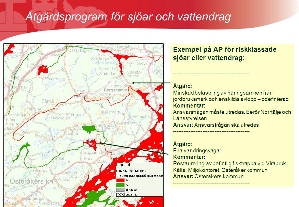Åtgärdsprogram för sjöar och vattendrag Exempel på ÅP för riskklassade sjöar eller vattendrag: -------------------------------------------- Åtgärd: Mi