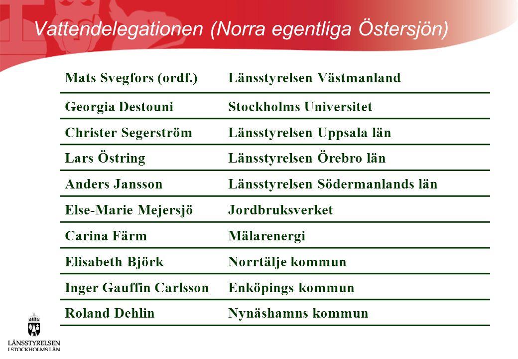 Vattendelegationen (Norra egentliga Östersjön) Mats Svegfors (ordf.)Länsstyrelsen Västmanland Georgia DestouniStockholms Universitet Christer Segerstr
