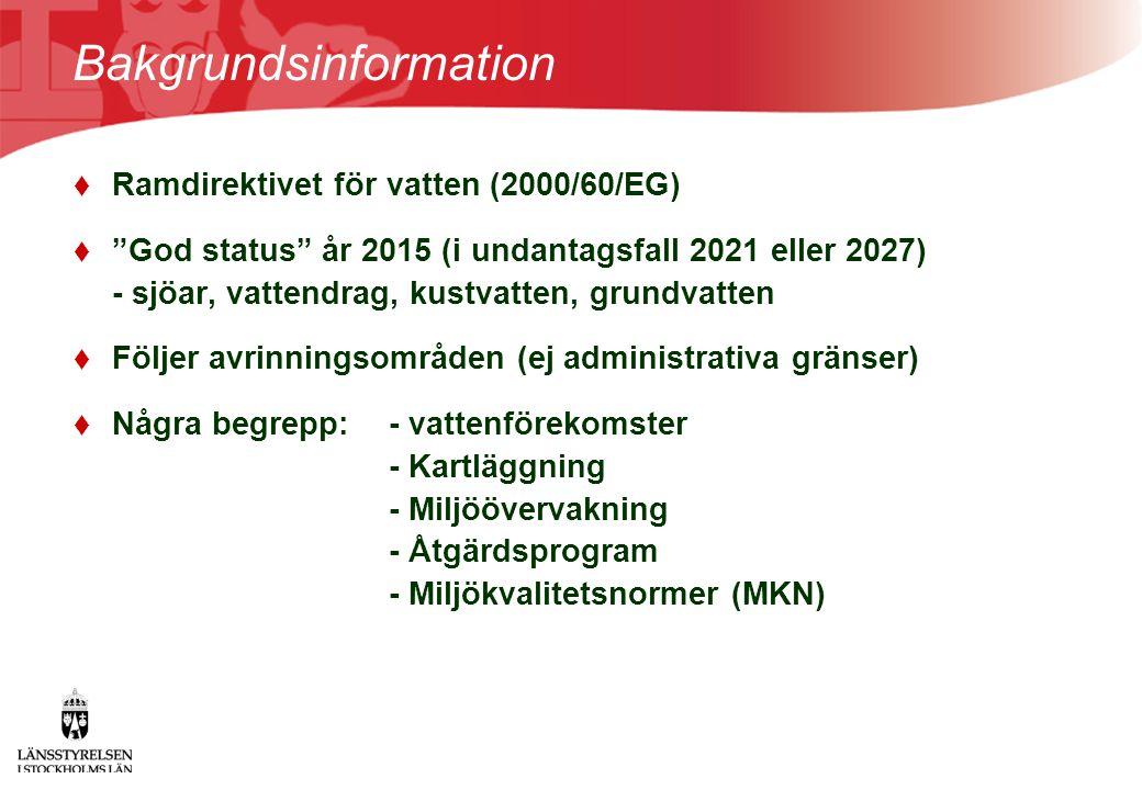 """Bakgrundsinformation  Ramdirektivet för vatten (2000/60/EG)  """"God status"""" år 2015 (i undantagsfall 2021 eller 2027) - sjöar, vattendrag, kustvatten,"""