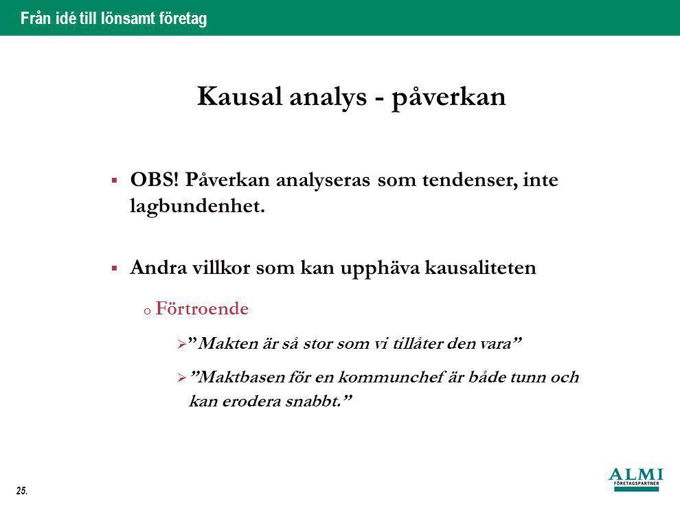 Från idé till lönsamt företag 25. Kausal analys - påverkan  OBS! Påverkan analyseras som tendenser, inte lagbundenhet.  Andra villkor som kan upphäv
