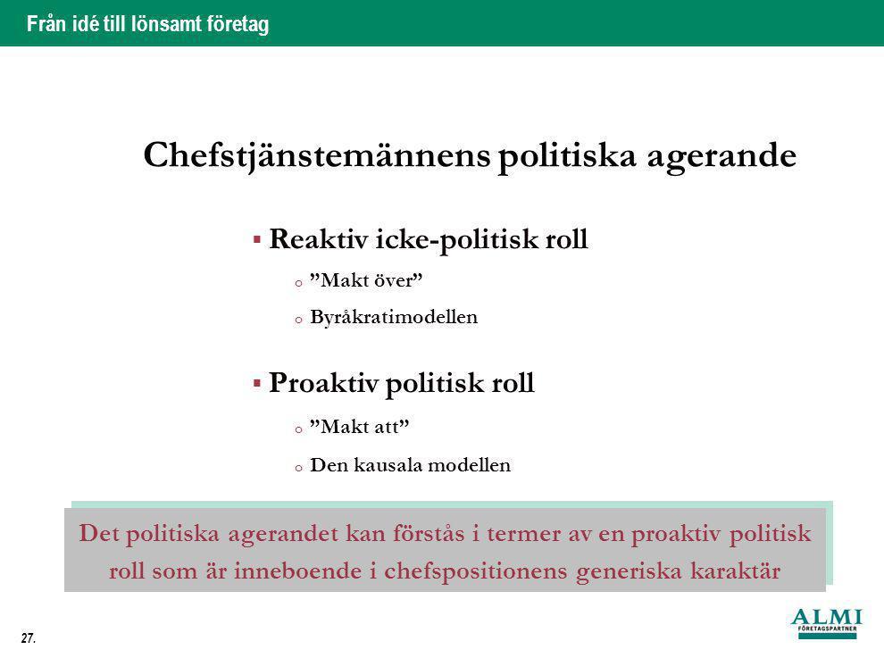 """Från idé till lönsamt företag 27. Chefstjänstemännens politiska agerande  Reaktiv icke-politisk roll o """"Makt över"""" o Byråkratimodellen  Proaktiv pol"""