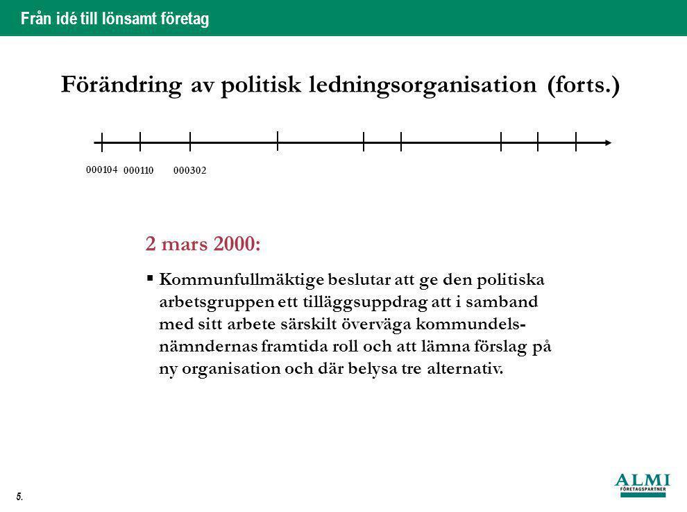 Från idé till lönsamt företag 5. 2 mars 2000:  Kommunfullmäktige beslutar att ge den politiska arbetsgruppen ett tilläggsuppdrag att i samband med si