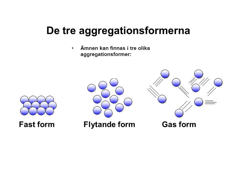 De tre aggregationsformerna •Ämnen kan finnas i tre olika aggregationsformer: Fast formFlytande formGas form