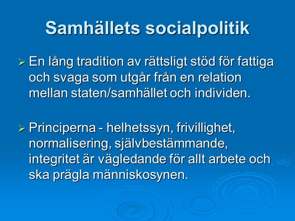 Samhällets socialpolitik  En lång tradition av rättsligt stöd för fattiga och svaga som utgår från en relation mellan staten/samhället och individen.