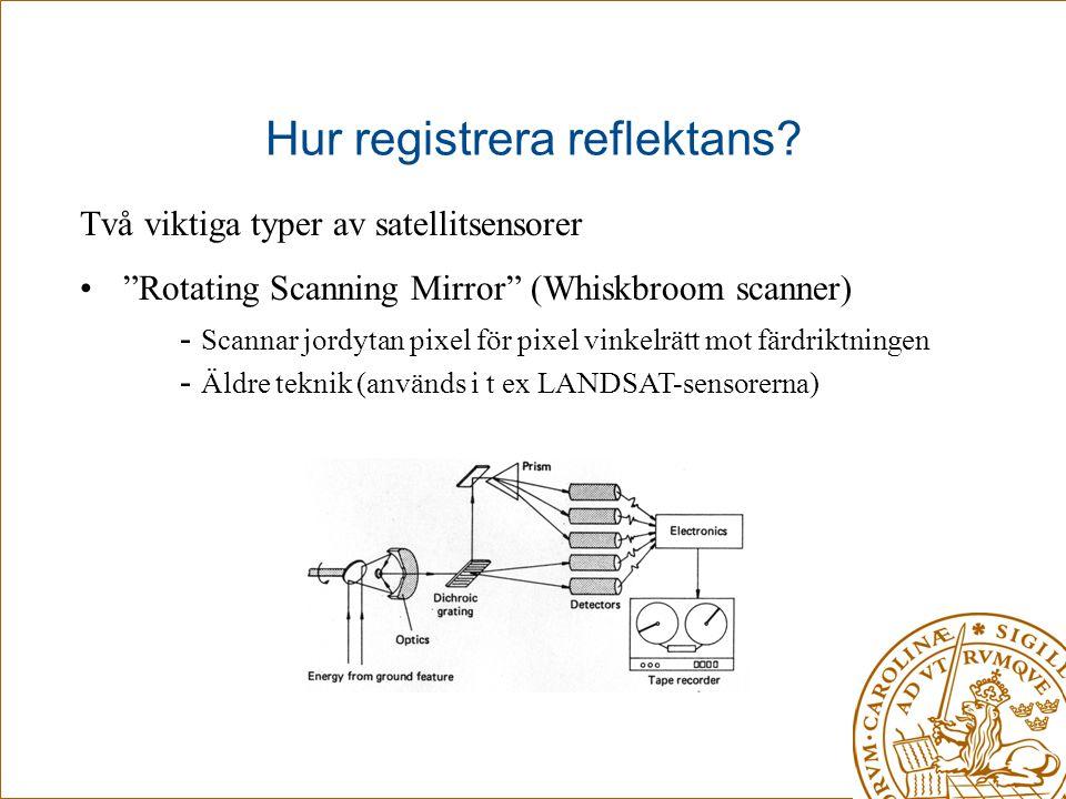 """Hur registrera reflektans? Två viktiga typer av satellitsensorer • """"Rotating Scanning Mirror"""" (Whiskbroom scanner) - Scannar jordytan pixel för pixel"""