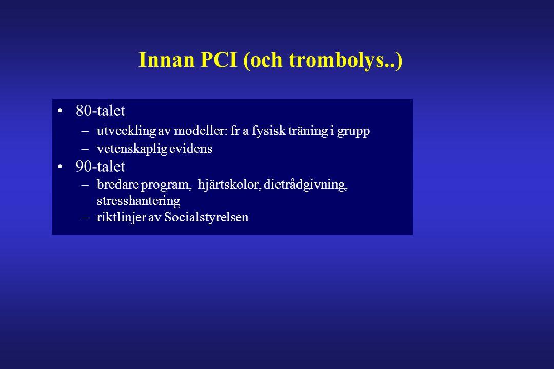 Innan PCI (och trombolys..) •80-talet –utveckling av modeller: fr a fysisk träning i grupp –vetenskaplig evidens •90-talet –bredare program, hjärtskol
