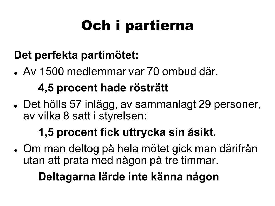 Och i partierna Det perfekta partimötet:  Av 1500 medlemmar var 70 ombud där.