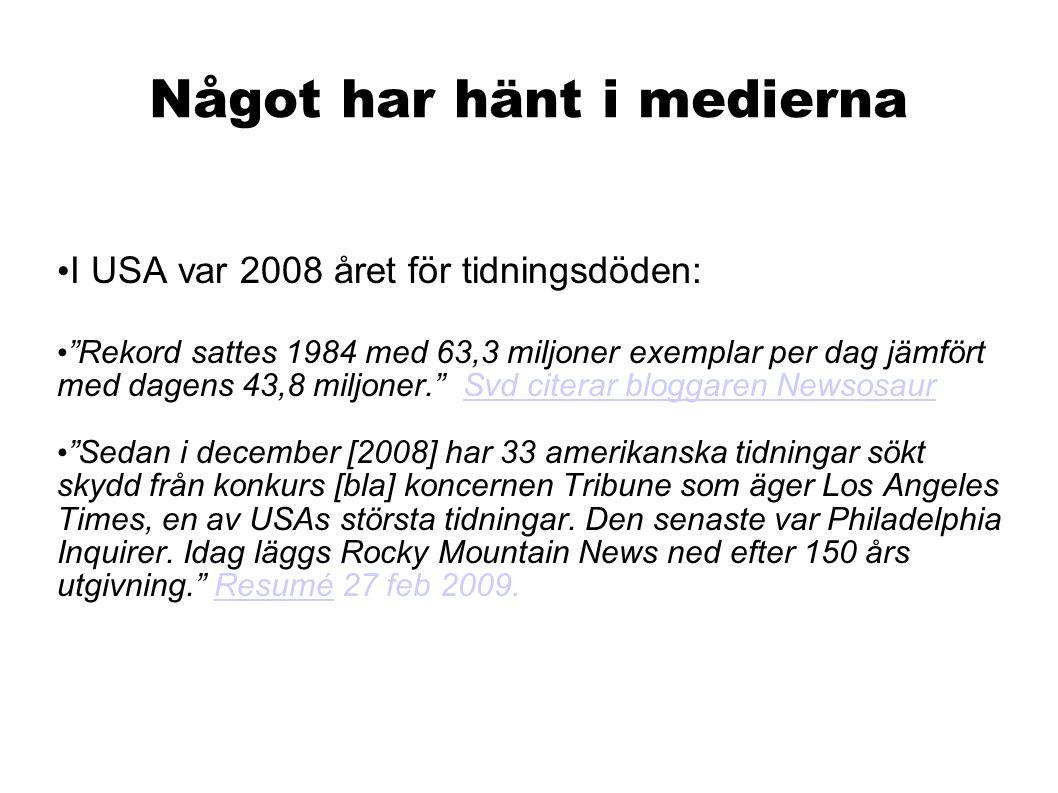 Något har hänt i medierna Källa: Dagspress.se I åldersgruppen 60 till 85 år läser fortfarande 85 procent av alla svenskar en prenumererad morgontidning.