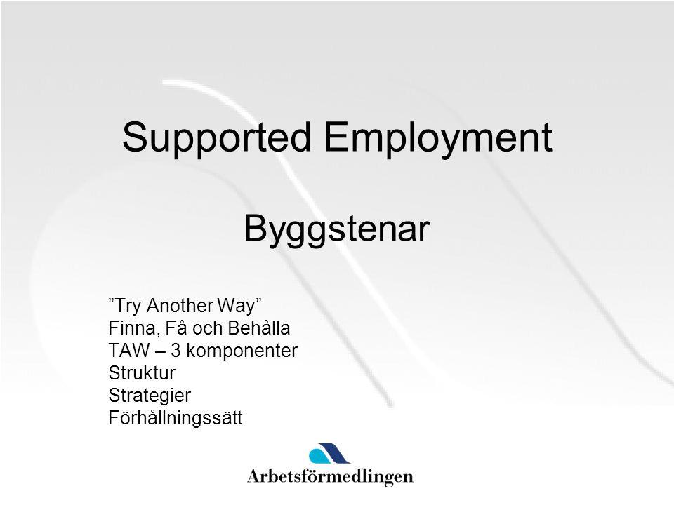"""Supported Employment Byggstenar """"Try Another Way"""" Finna, Få och Behålla TAW – 3 komponenter Struktur Strategier Förhållningssätt"""