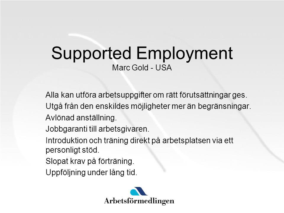 Supported Employment Sverige SIUS AMV – 1993 AF Rehab Ronneby – Invandrare 1999 Arbetsplatsintroduktion för invandrare AMV – 2003 Svenska Föreningen för Supported Employment SFSE 1998 MISA, Resursteamet m.fl.