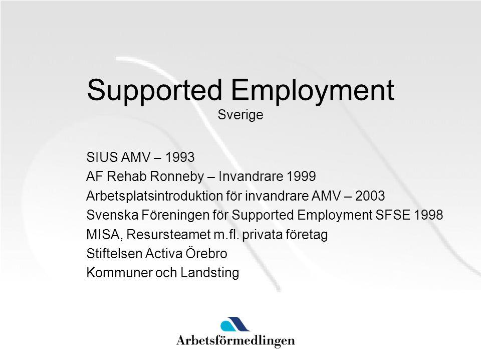 Supported Employment Sverige SIUS AMV – 1993 AF Rehab Ronneby – Invandrare 1999 Arbetsplatsintroduktion för invandrare AMV – 2003 Svenska Föreningen f