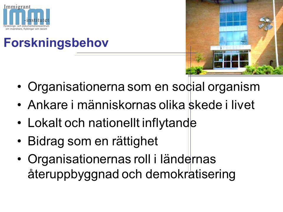 •Organisationerna som en social organism •Ankare i människornas olika skede i livet •Lokalt och nationellt inflytande •Bidrag som en rättighet •Organisationernas roll i ländernas återuppbyggnad och demokratisering Forskningsbehov