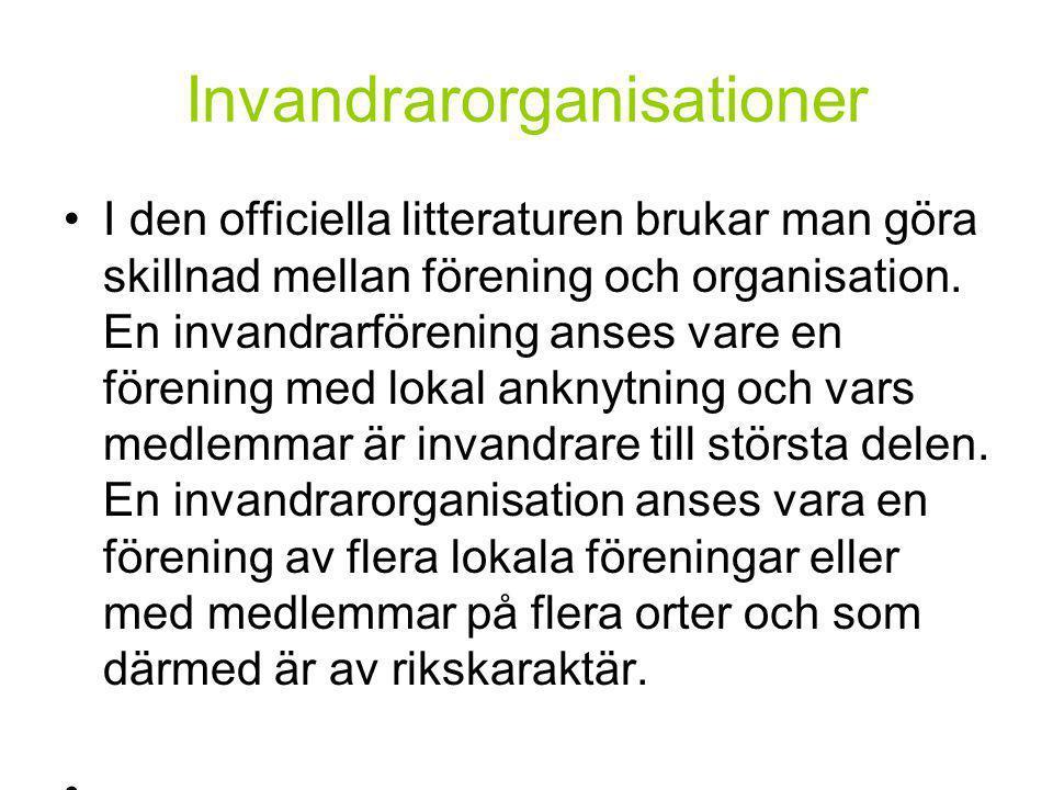 Invandrarorganisationer •I den officiella litteraturen brukar man göra skillnad mellan förening och organisation.