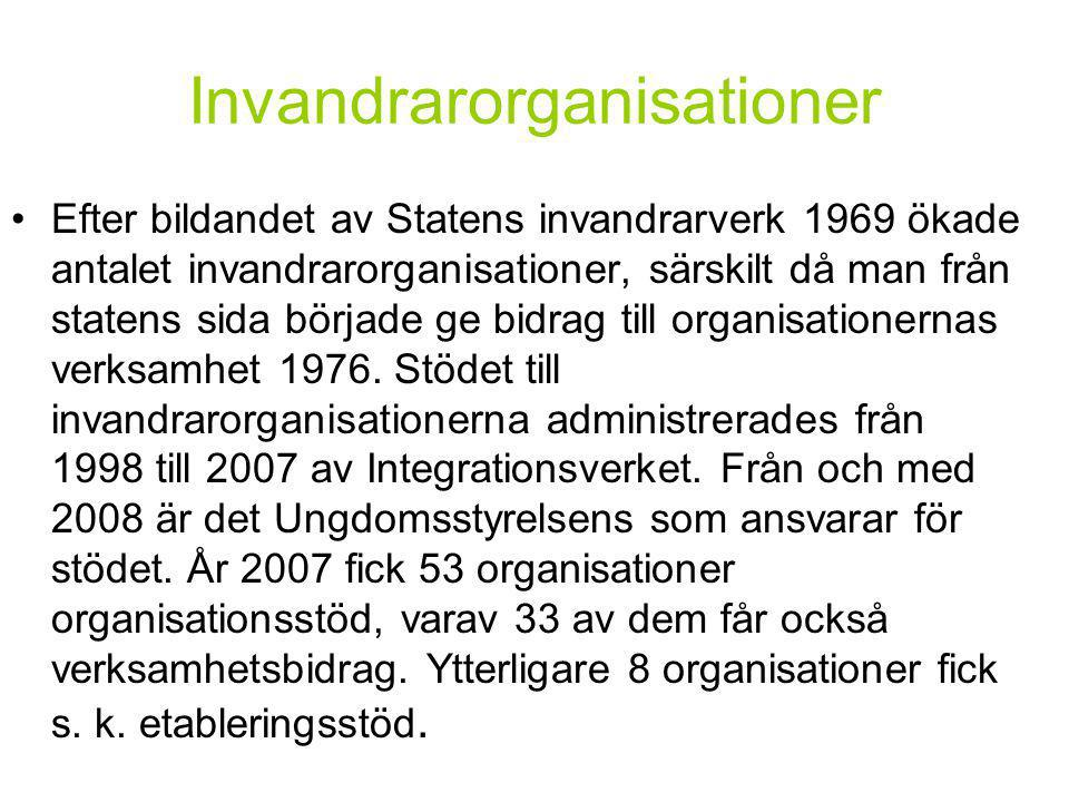 Invandrarorganisationer •Efter bildandet av Statens invandrarverk 1969 ökade antalet invandrarorganisationer, särskilt då man från statens sida började ge bidrag till organisationernas verksamhet 1976.