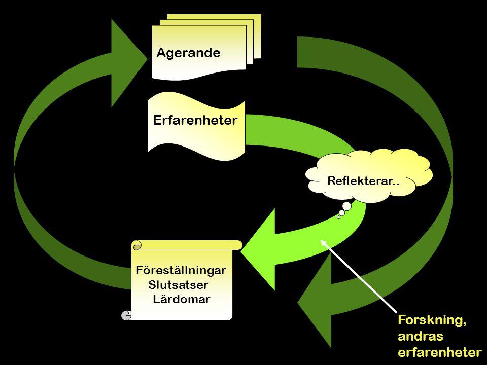 Forskning, andras erfarenheter Föreställningar Slutsatser Lärdomar Agerande Erfarenheter Reflekterar.. Erfarenhetslärandet