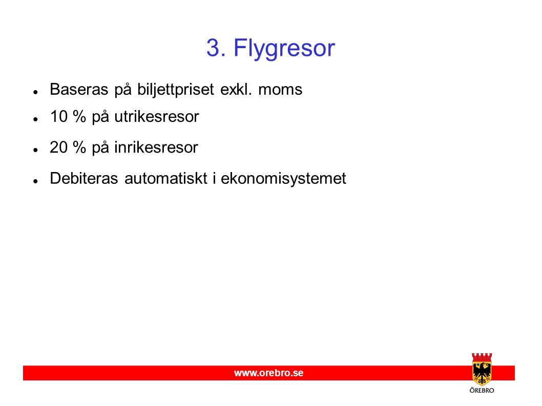 www.orebro.se 3.Flygresor  Baseras på biljettpriset exkl.