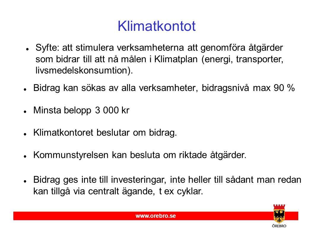 www.orebro.se Klimatkontot  Bidrag kan sökas av alla verksamheter, bidragsnivå max 90 %  Klimatkontoret beslutar om bidrag.