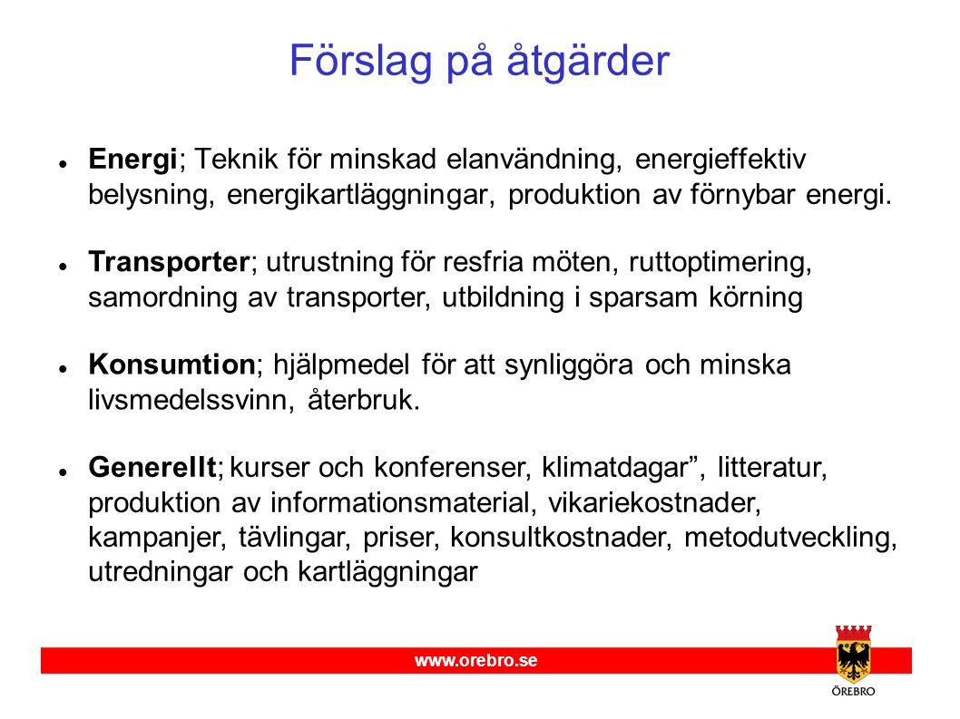 www.orebro.se Förslag på åtgärder  Energi; Teknik för minskad elanvändning, energieffektiv belysning, energikartläggningar, produktion av förnybar energi.