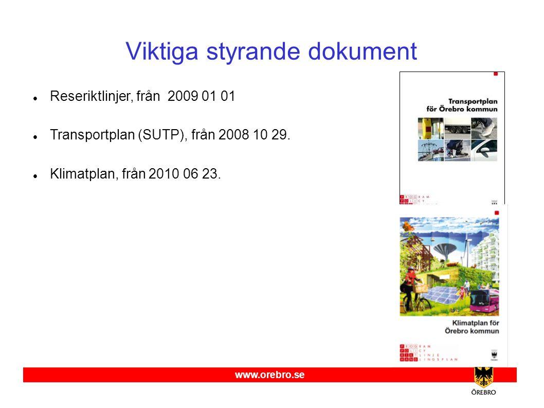 www.orebro.se Viktiga styrande dokument  Reseriktlinjer, från 2009 01 01  Transportplan (SUTP), från 2008 10 29.