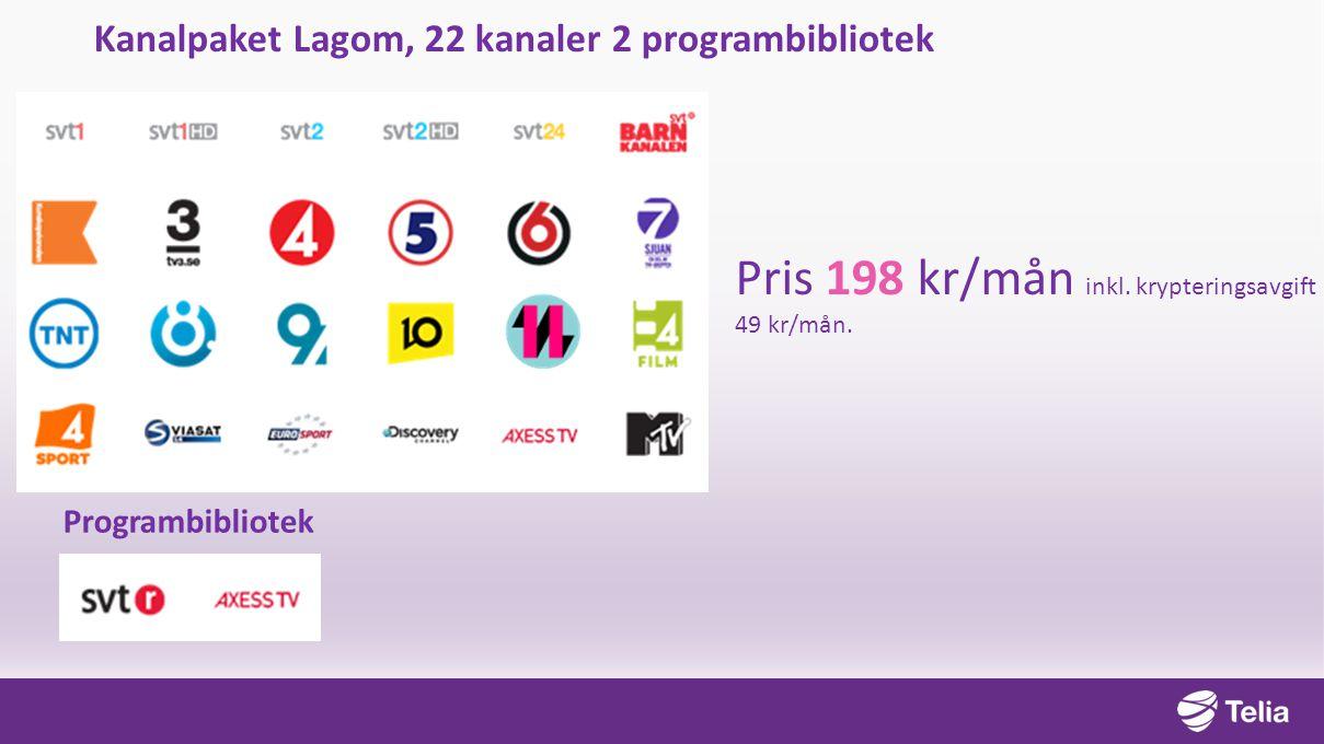 Kanalpaket Lagom, 22 kanaler 2 programbibliotek Pris 198 kr/mån inkl. krypteringsavgift 49 kr/mån. Programbibliotek