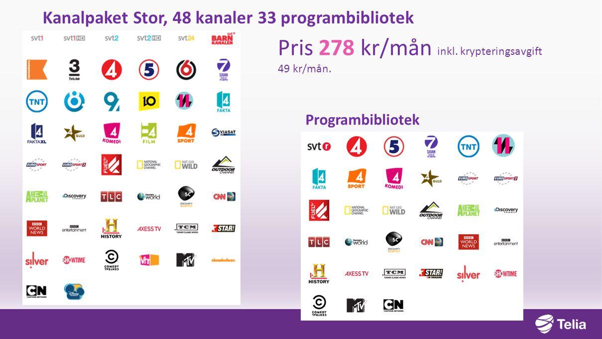 Kanalpaket Stor, 48 kanaler 33 programbibliotek Pris 278 kr/mån inkl. krypteringsavgift 49 kr/mån. Programbibliotek