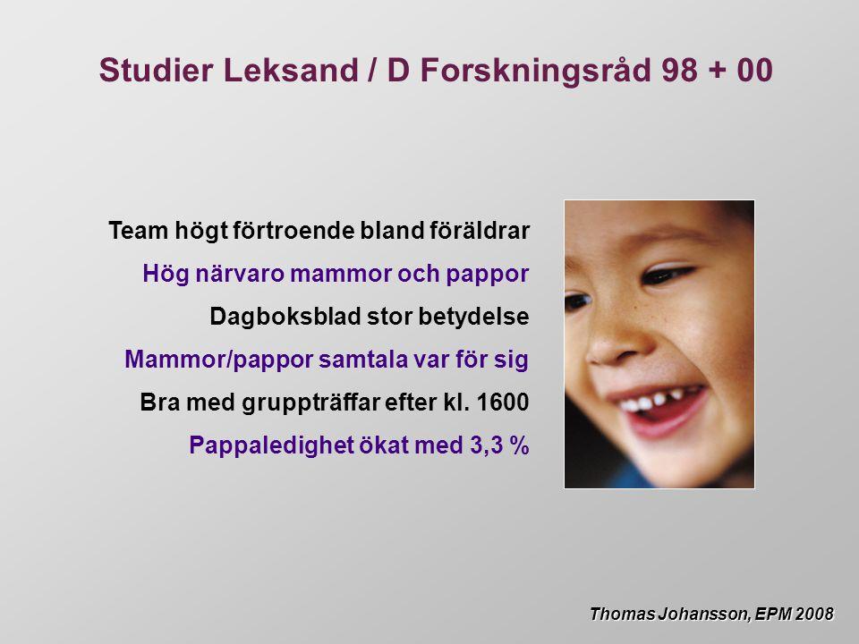 Team högt förtroende bland föräldrar Hög närvaro mammor och pappor Dagboksblad stor betydelse Mammor/pappor samtala var för sig Bra med gruppträffar efter kl.