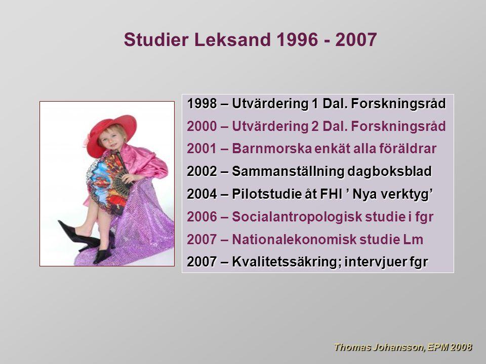 Thomas Johansson, EPM 2008 Thomas Johansson, EPM 2008 1998 – Utvärdering 1 Dal.
