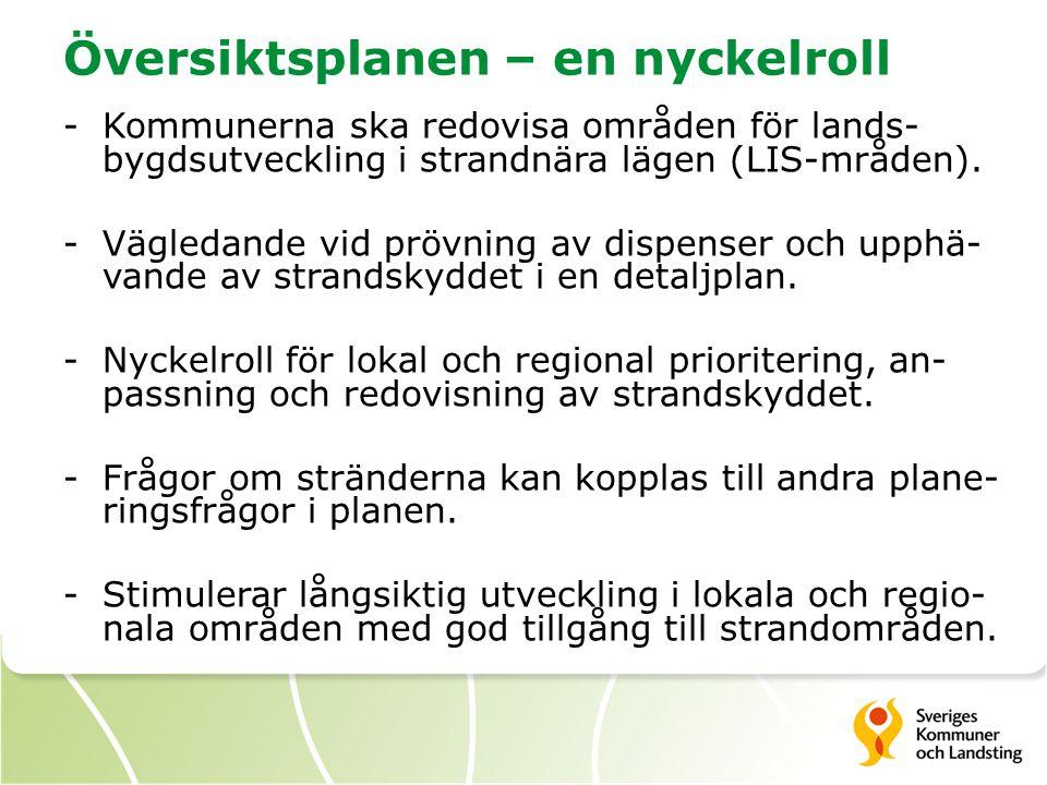 Översiktsplanen – en nyckelroll -Kommunerna ska redovisa områden för lands- bygdsutveckling i strandnära lägen (LIS-mråden). -Vägledande vid prövning