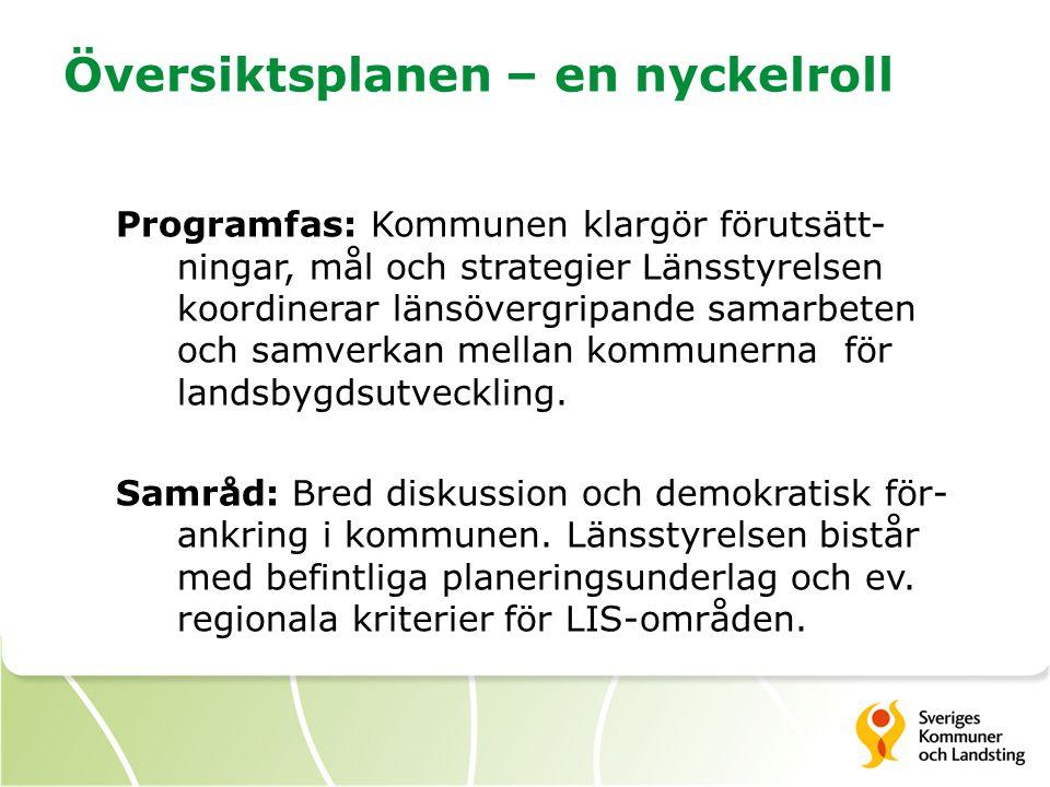Översiktsplanen – en nyckelroll Programfas: Kommunen klargör förutsätt- ningar, mål och strategier Länsstyrelsen koordinerar länsövergripande samarbet
