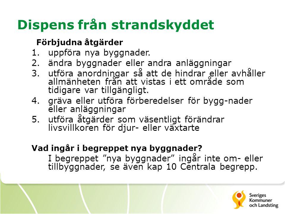 Dispens från strandskyddet Förbjudna åtgärder 1.uppföra nya byggnader. 2.ändra byggnader eller andra anläggningar 3.utföra anordningar så att de hindr