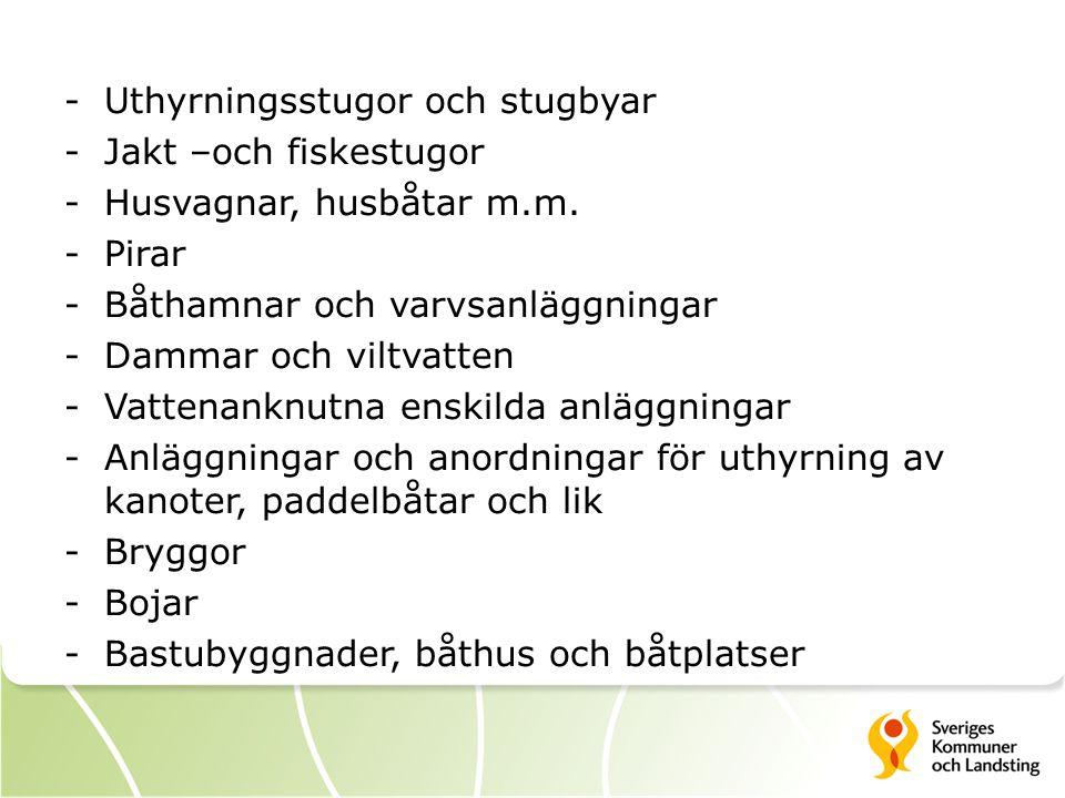 -Uthyrningsstugor och stugbyar -Jakt –och fiskestugor -Husvagnar, husbåtar m.m. -Pirar -Båthamnar och varvsanläggningar -Dammar och viltvatten -Vatten