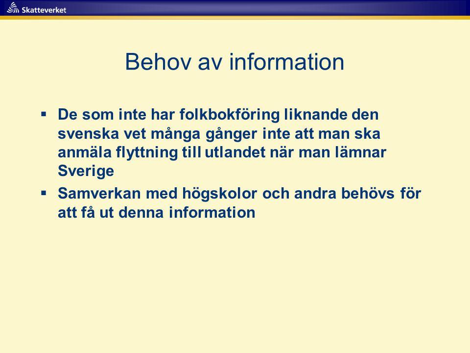 Behov av information  De som inte har folkbokföring liknande den svenska vet många gånger inte att man ska anmäla flyttning till utlandet när man lämnar Sverige  Samverkan med högskolor och andra behövs för att få ut denna information