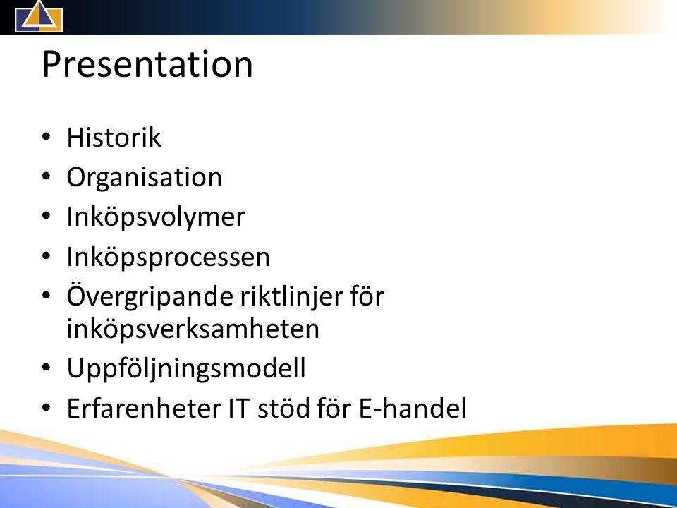 Presentation • Historik • Organisation • Inköpsvolymer • Inköpsprocessen • Övergripande riktlinjer för inköpsverksamheten • Uppföljningsmodell • Erfarenheter IT stöd för E-handel