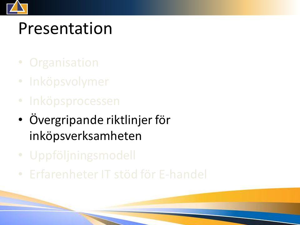 Presentation • Organisation • Inköpsvolymer • Inköpsprocessen • Övergripande riktlinjer för inköpsverksamheten • Uppföljningsmodell • Erfarenheter IT stöd för E-handel
