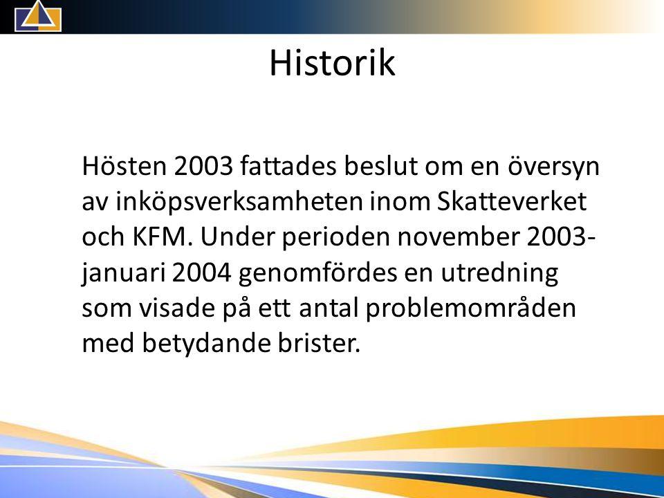 Historik Hösten 2003 fattades beslut om en översyn av inköpsverksamheten inom Skatteverket och KFM.
