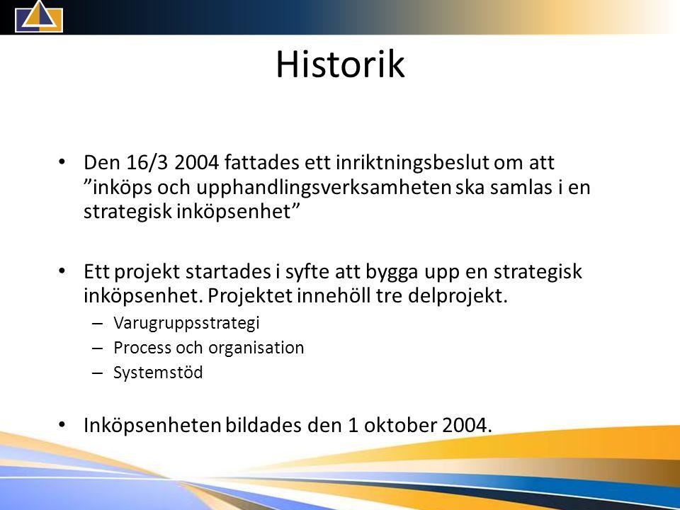 Historik • Den 16/3 2004 fattades ett inriktningsbeslut om att inköps och upphandlingsverksamheten ska samlas i en strategisk inköpsenhet • Ett projekt startades i syfte att bygga upp en strategisk inköpsenhet.