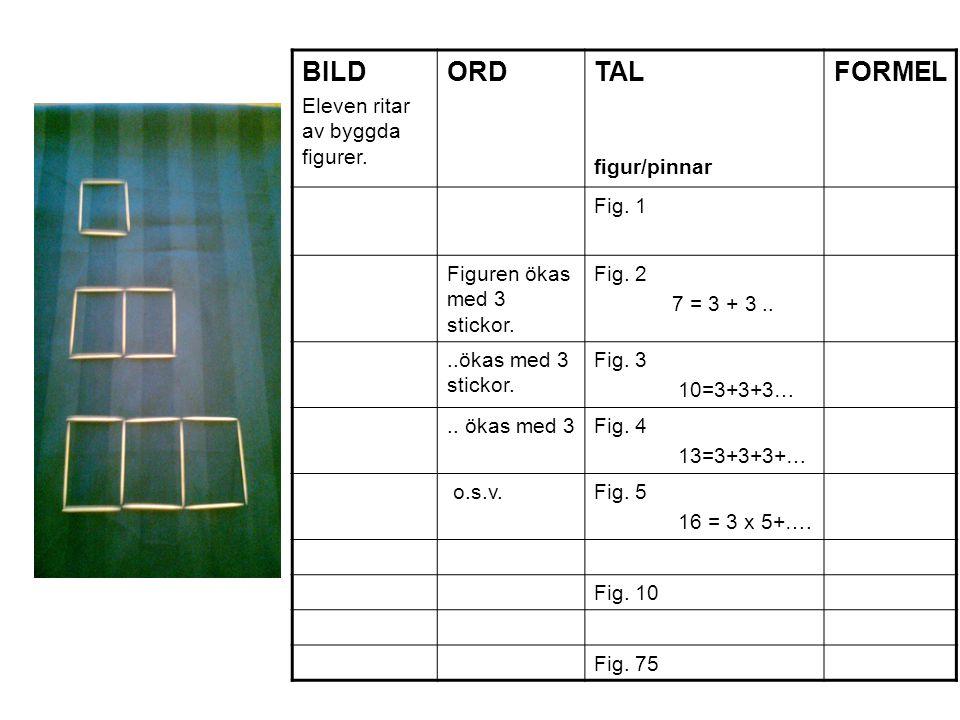 BILD Eleven ritar av byggda figurer. ORD TAL figur/pinnar FORMEL Fig. 1 Figuren ökas med 3 stickor. Fig. 2 7 = 3 + 3....ökas med 3 stickor. Fig. 3 10=