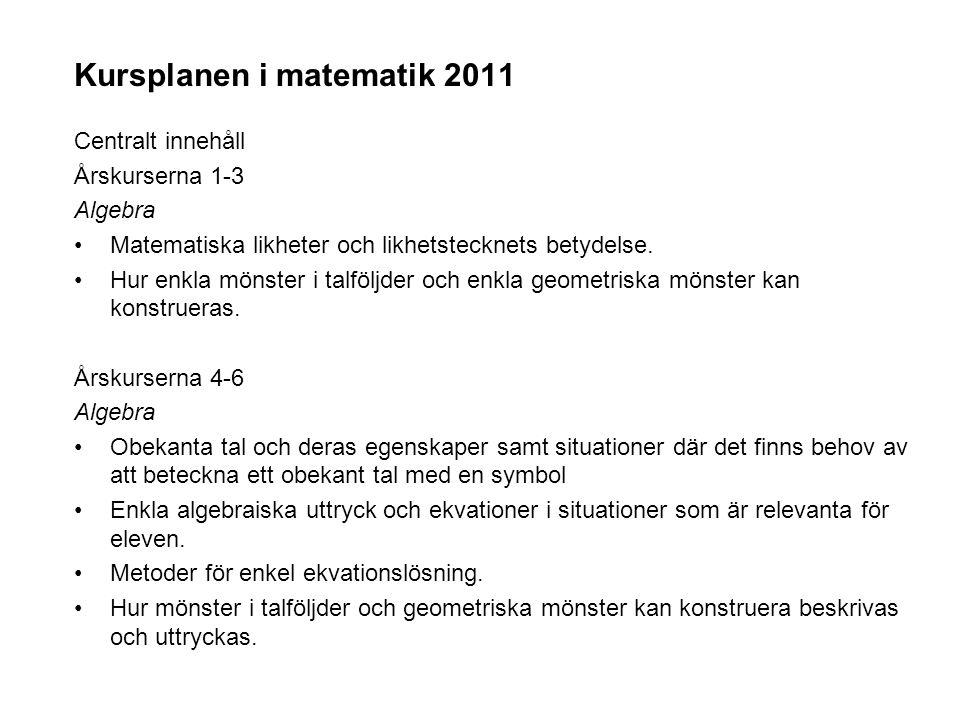 Kursplanen i matematik 2011 Centralt innehåll Årskurserna 1-3 Algebra •Matematiska likheter och likhetstecknets betydelse. •Hur enkla mönster i talföl