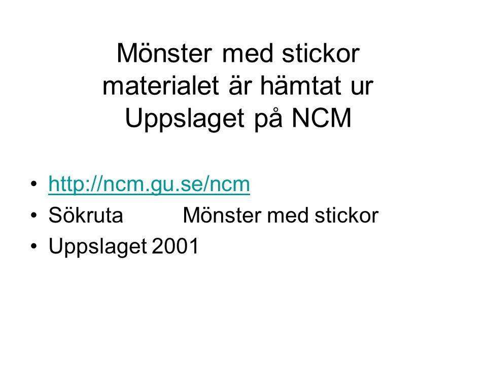Mönster med stickor materialet är hämtat ur Uppslaget på NCM •http://ncm.gu.se/ncmhttp://ncm.gu.se/ncm •Sökruta Mönster med stickor •Uppslaget 2001