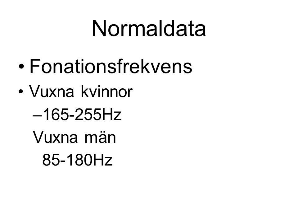 Normaldata •Fonationsfrekvens •Vuxna kvinnor –165-255Hz Vuxna män 85-180Hz
