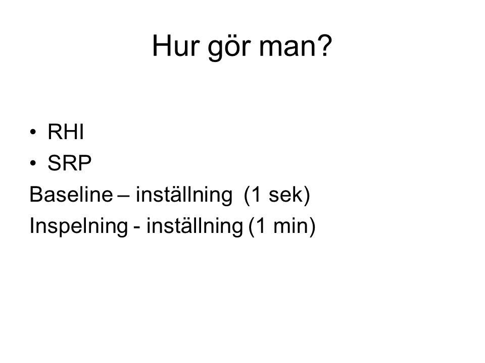 Hur gör man? •RHI •SRP Baseline – inställning (1 sek) Inspelning - inställning (1 min)